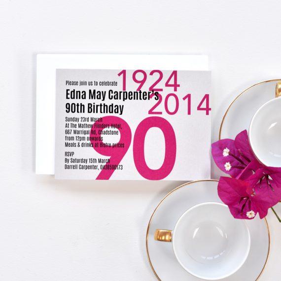 90th Birthday Invitation 1/3