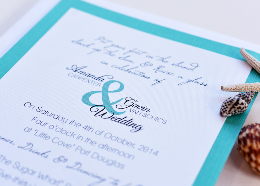 Teal Beach Wedding Invitation. 2/4