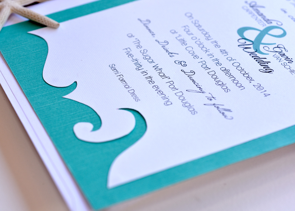 Teal Beach Wedding Invitation. 4/4