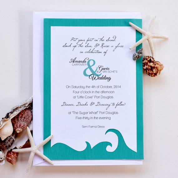 Teal Beach Wedding Invitation 1/4