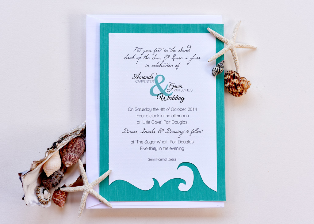 Teal Beach Wedding Invitation 1/4