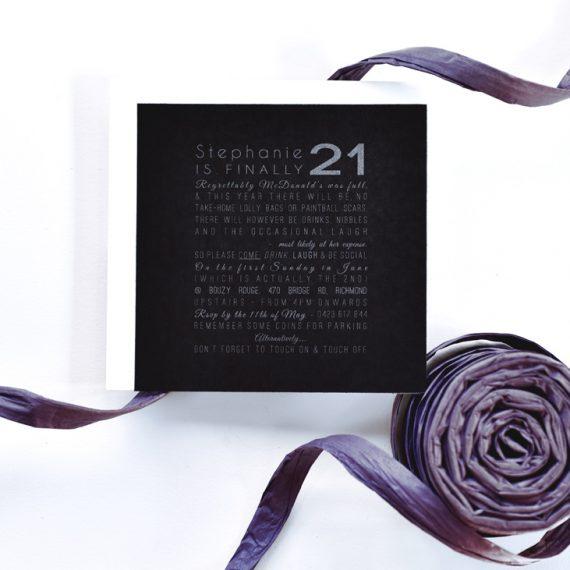 Metallic 21st Birthday Invitation