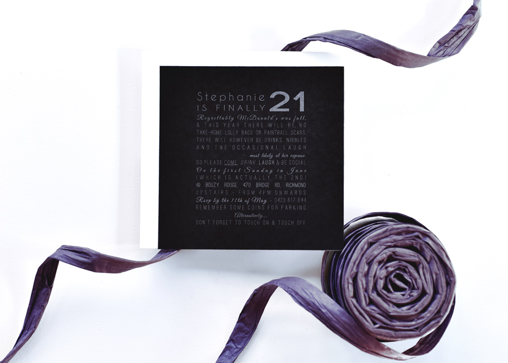 Metallic 21st Birthday Invitation