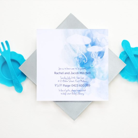 Jellyfish Baby Shower Invitation 1/4