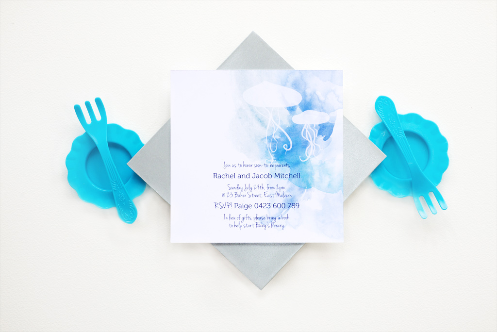 Watercolour Baby Shower Invitation 1/4