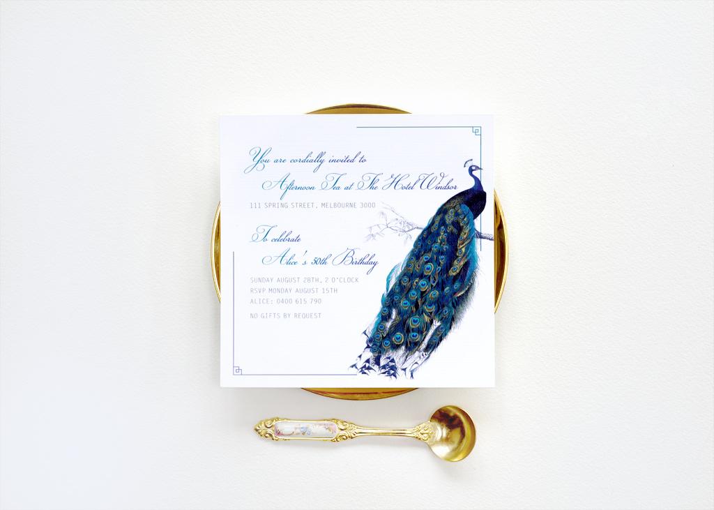 Peacock 50th Invitation 1/4