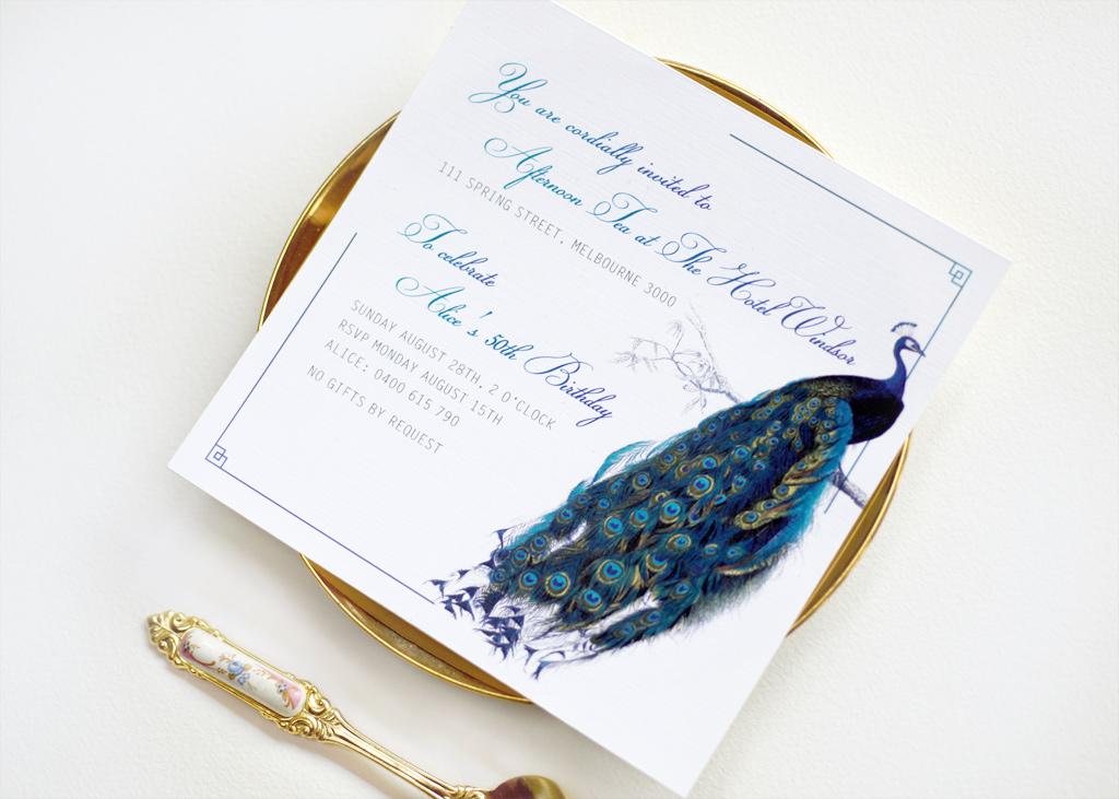 Peacock 50th Invitation 2/4