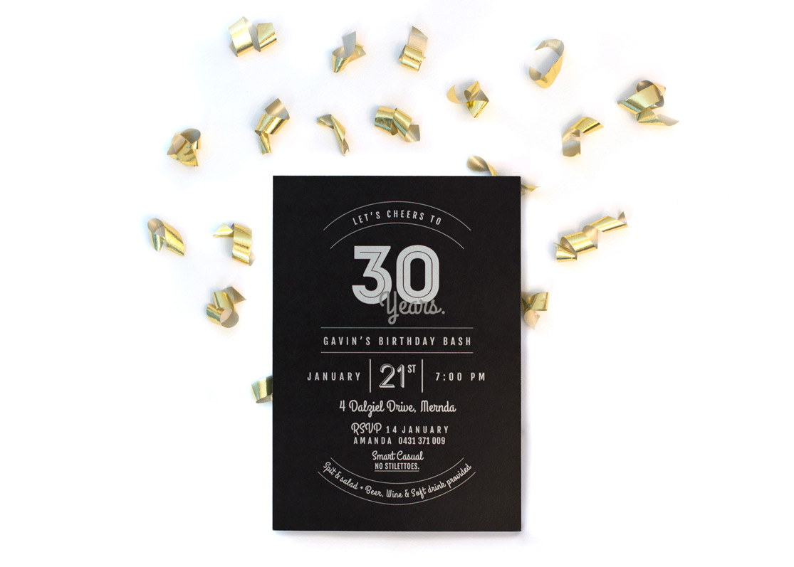 Modern Typographical 30th Birthday Invitation