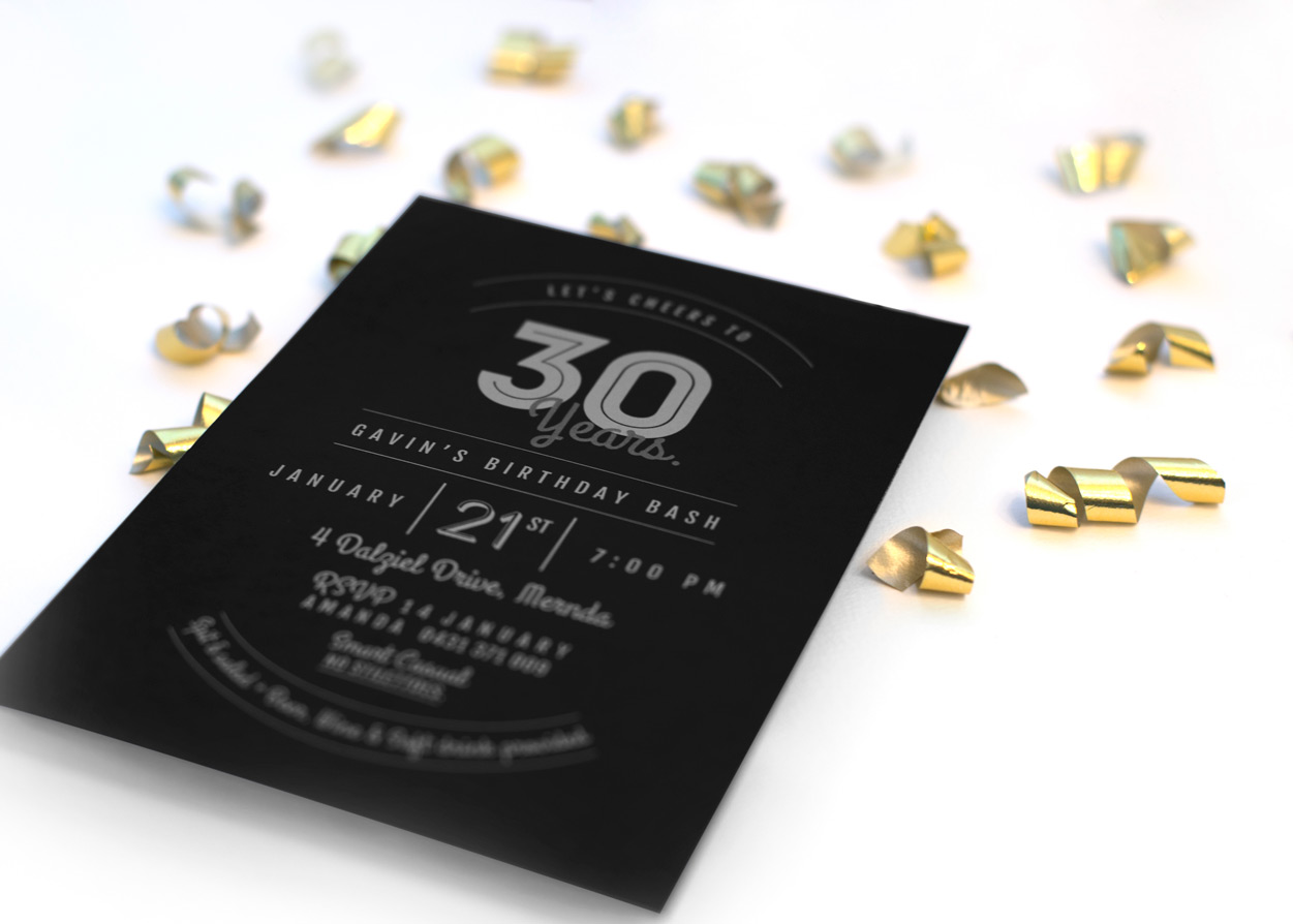 Modern Typographical 30th Birthday Invitation Close up 1
