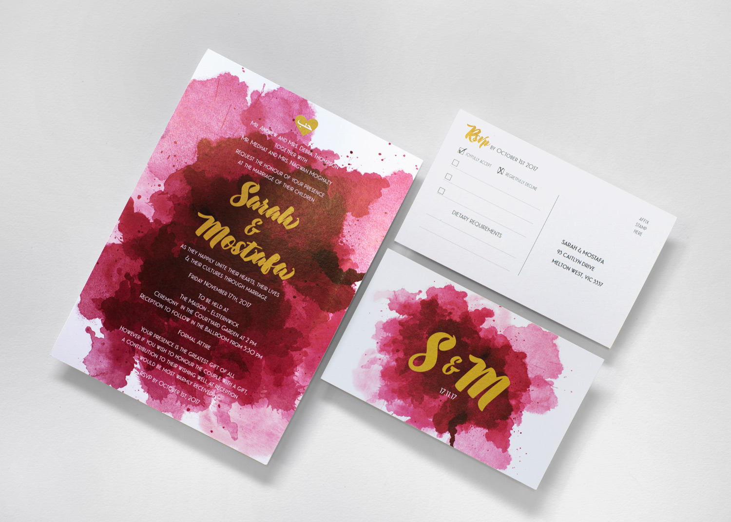 Watercolour & Gold Wedding Invitation